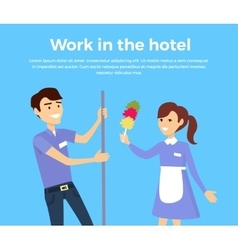 Work in hotel banner design flat vector