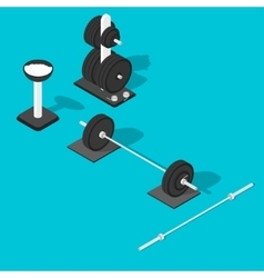 Barbell weights stand and bar vector image