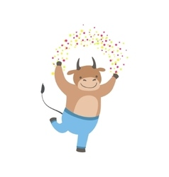 Bull Cute Animal Character Attending Birthday vector image vector image