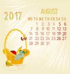 Calendar august 2017 fruit in a wicker basket vector