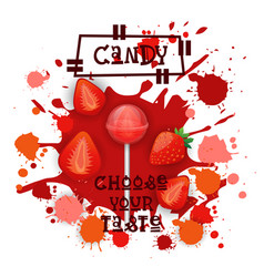 Candy strawberry lolly dessert colorful icon vector