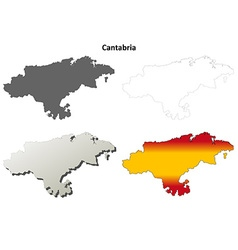 Cantabria blank detailed outline map set vector image vector image