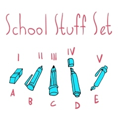 cartoon flat school set icon stickers vector image