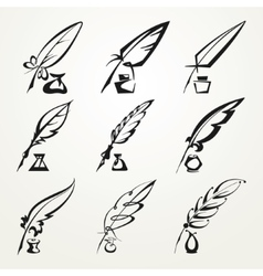 Collection feather pen and ink vector