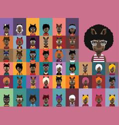 Collection of rhino avatars vector
