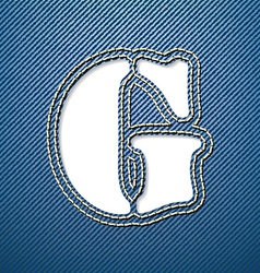 Denim jeans letter G vector image