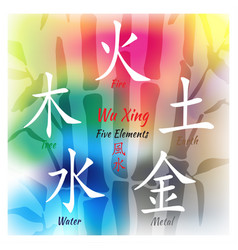five feng shui elements set vector image