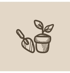 Garden trowel and pot with plant sketch icon vector