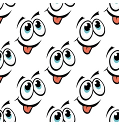Happy emoticon face seamless pattern vector