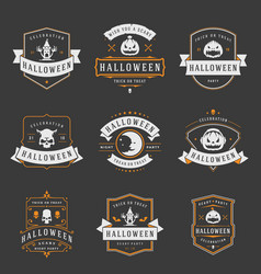 Happy halloween labels an badges design set vector