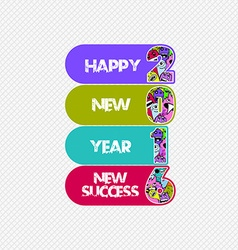 Happy new year 2016 monster doodle new success vector