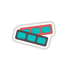 In paper sticker style cinema vector