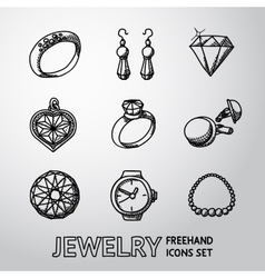 Jewelry monochrome freehand icons set with - rings vector