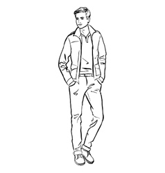 man isolated on white vector image vector image