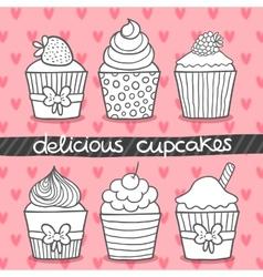 Muffin set Cupcake set vector image