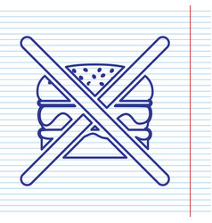 No burger sign navy line icon on notebook vector
