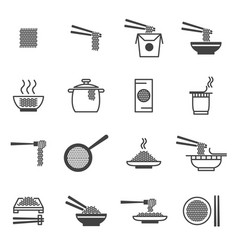 noodle signs black thin line icon set vector image vector image