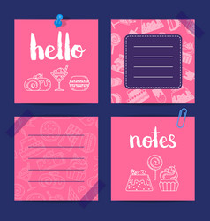 notes templates with sweets vector image vector image