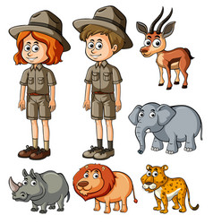 Parkrangers and many wild animals vector