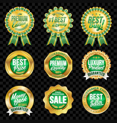 Set of excellent quality green badges with gold vector