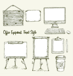 Set of hand drawn office equipment in eco style vector