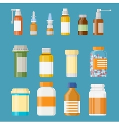 Set of medicine bottles with labels and pills vector