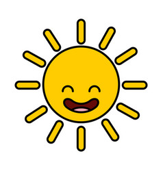 summer sun kawaii character vector image vector image