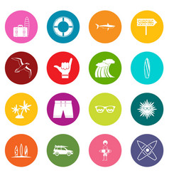 Surfing icons many colors set vector