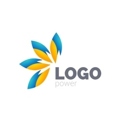 Yellow blue leafs logo design Four leafs logotype vector image
