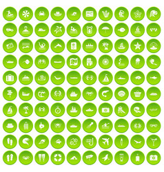100 sea life icons set green circle vector