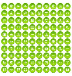 100 sea life icons set green circle vector