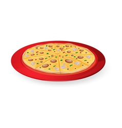 Pizza in red dish vector