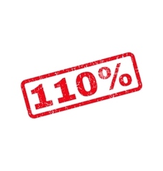 110 percent text rubber stamp vector
