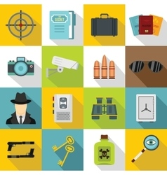 Spy tools icons set flat style vector