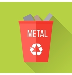 Red recycle garbage bin with metal vector