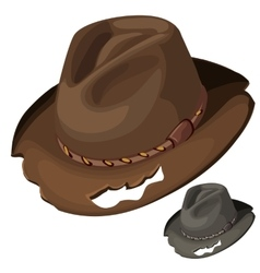 Old mens brown hat with holes isolated vector