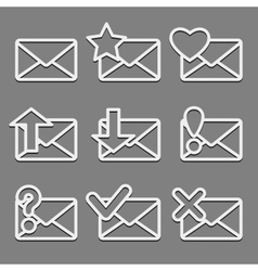 Mail envelope web icons set on dark background vector image