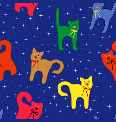 Funny cats over starry sky vector