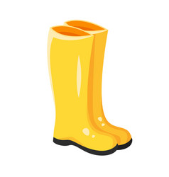 cartoon style of yellow rubber boots vector image
