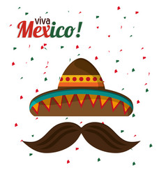 Viva mexico tradition hat mustache with confetti vector