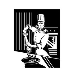 Chef cook baker holding holding pepper shaker in vector