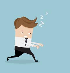 businessman sleepwalking cartoon vector image