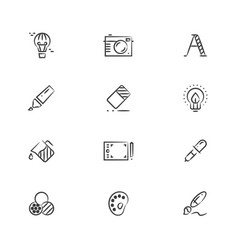Creative and graphic design tools line icons vector