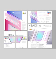 Social media posts set abstract design business vector