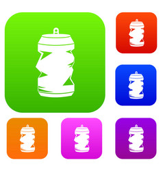 Crumpled aluminum cans set collection vector