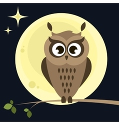 Owl on the tree at night vector