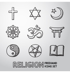 World religion hand drawn symbols set vector