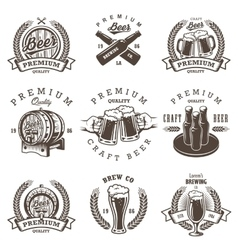Set of vintage beer brewery emblems vector image