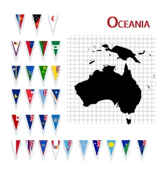 Oceania flags and map vector