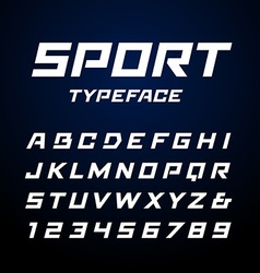 Sport font alphabet with latin letters and numbers vector
